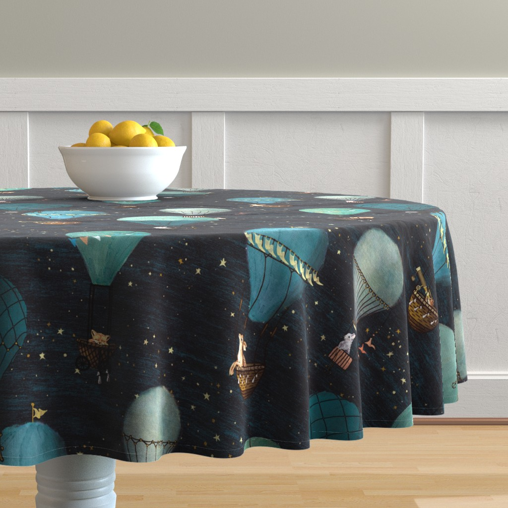 Malay Round Tablecloth featuring Large scale Night Adventure Forest Animal Hot Air Balloon Flight by at_the_cottage