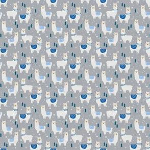 MINI christmas llama - grey and blue llama fabric, llama fabric, christmas fabric, christmas fabric by the yard, cute christmas llama - grey