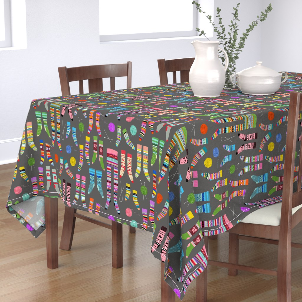 Bantam Rectangular Tablecloth featuring Fancy Fair Isle Feet (large scale on grey) by cerigwen