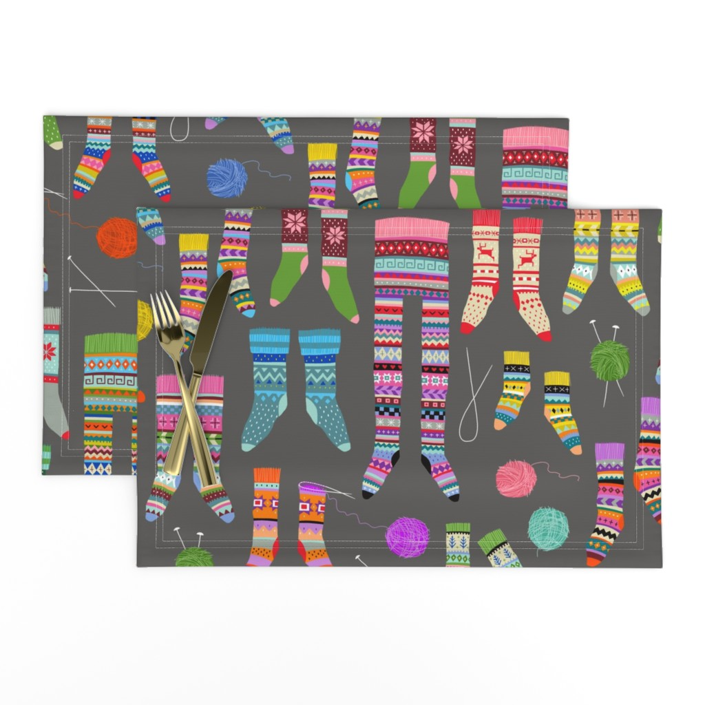 Lamona Cloth Placemats featuring Fancy Fair Isle Feet (large scale on grey) by cerigwen