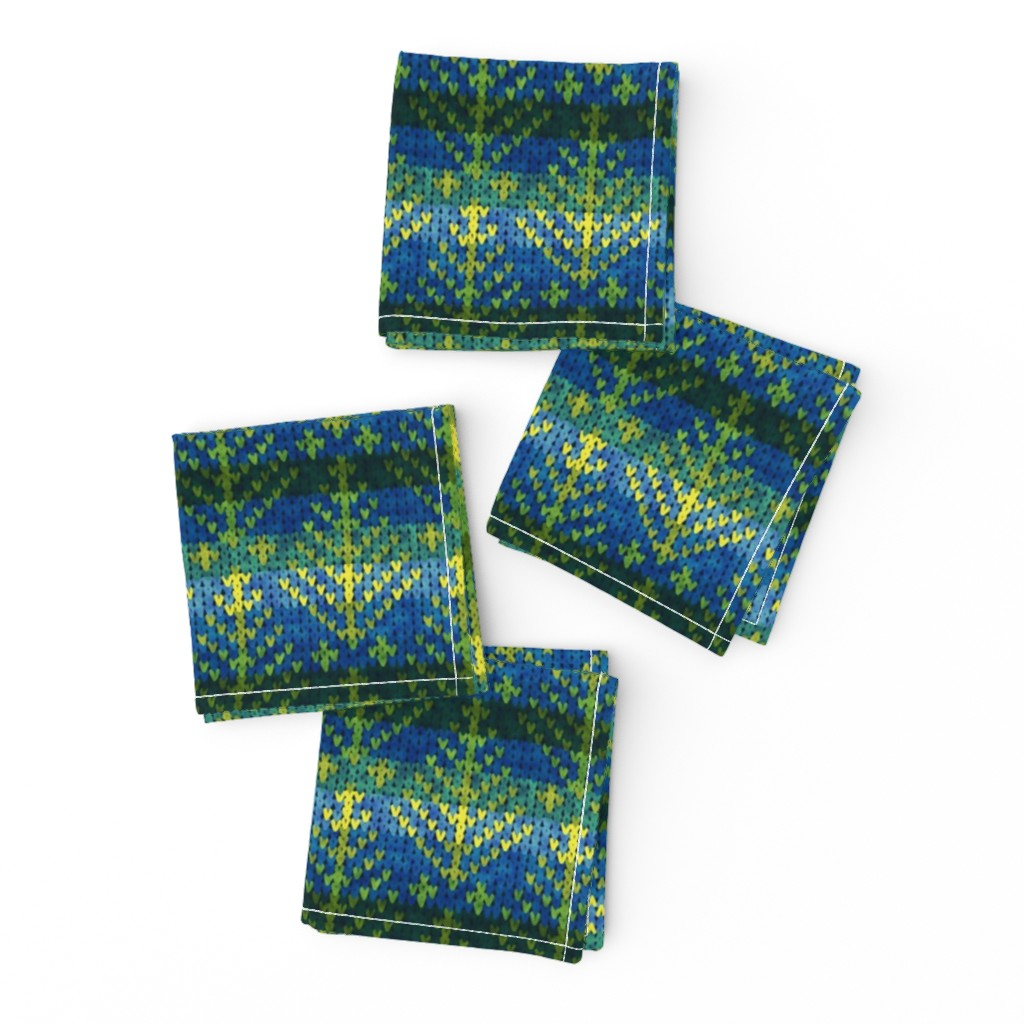 Frizzle Cocktail Napkins featuring traditional fair isle knitted trees by ghouk