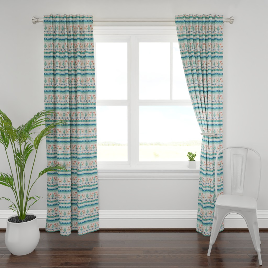 Plymouth Curtain Panel featuring Llama Fair Isle  by amberelizabethstudio