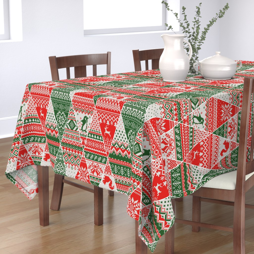 Bantam Rectangular Tablecloth featuring fair isle bunting by cleorie_designs