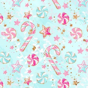 Pink candy cane peppermints and glittery stars