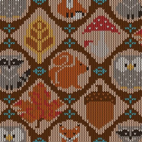 Woodland Animals Ugly Sweater ~ Brown Tan