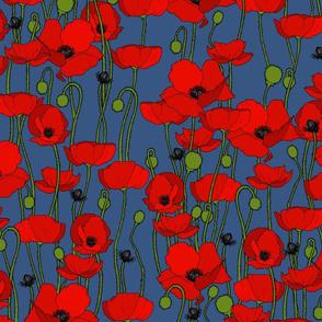 poppy repeat mid blue