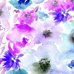 Bloom in purple and blue || watercolor floral pattern