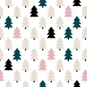 Lovely little Scandinavian christmas tree geometric pine tree forest pink green Small