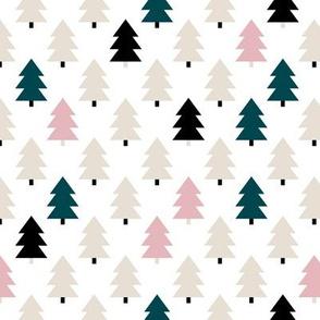 Lovely little Scandinavian christmas tree geometric pine tree forest pink green Small
