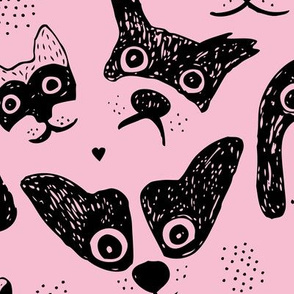 Dogs are awesome cool puppy love animal design black ink on pink JUMBO