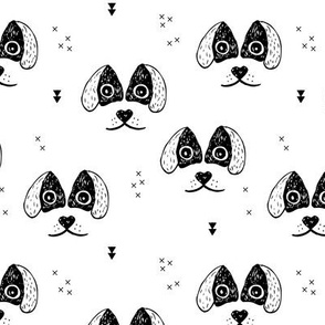 Monochrome dogs and puppy love geometric labrador abstract spaniel