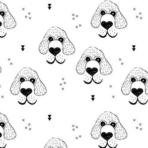 Monochrome dogs and puppy love geometric beagle abstract king charles spaniel