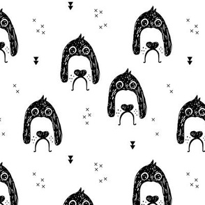 Monochrome dogs and puppy love geometric beagle abstract newfoundland pup