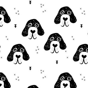 Monochrome dogs and puppy love geometric beagle abstract golden retriever