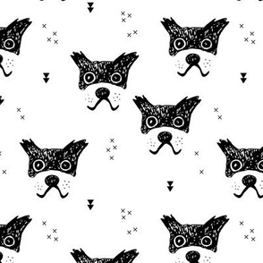 Monochrome dogs and puppy love geometric stafford abstract boxer