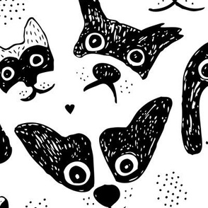Dogs are awesome cool puppy love animal design black ink monochrome JUMBO