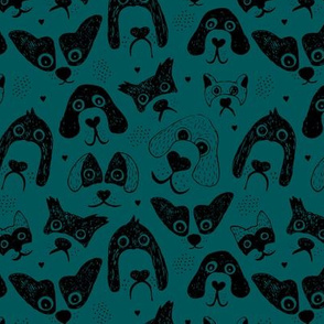 Dogs are awesome cool puppy love animal design black ink on teal green