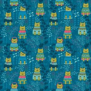 Cats in sweaters. Fair isle.