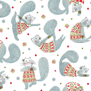 Pattern #99 - Yoga cats with knitted Fair Isle cardigans