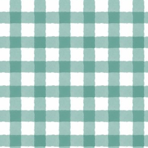 1 inch Watercolor Gingham Green, Emerald, hand-painted, stripes, checks, plaid, kids, gender neutral baby, unisex nursery