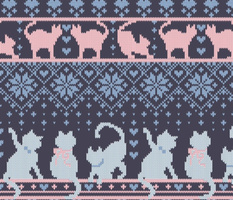 Normal scale // Fair Isle Knitting Cats Love // dark violet background white and violet kitties and details