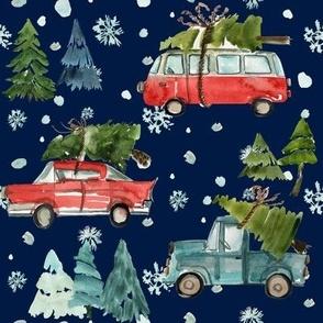 "8"" Santa's Other Ride // Woodland Trees // Navy"