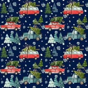 "4"" Santa's Other Ride // Woodland Trees // Navy"