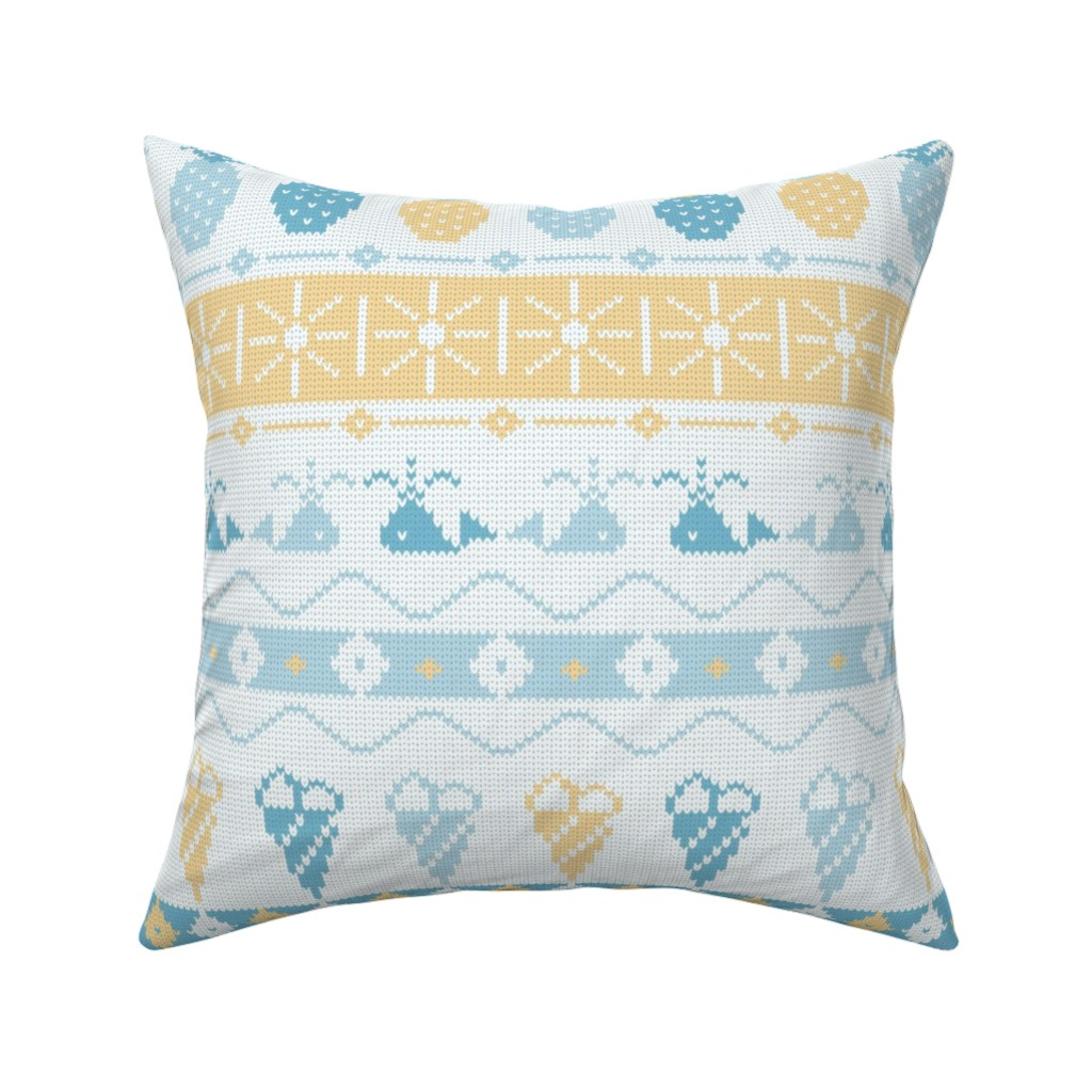 Catalan Throw Pillow featuring Summer Vibes Knit by pinkdeer