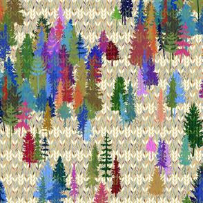 heathered fair isle knit trees