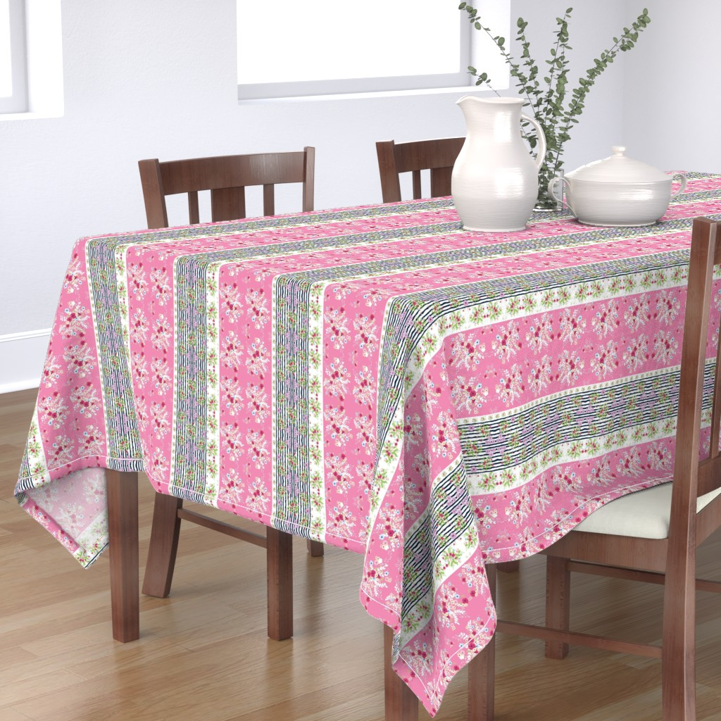 Bantam Rectangular Tablecloth featuring shabby chic purple passion border- VERTICAL 2 - MED 105 Pink by drapestudio