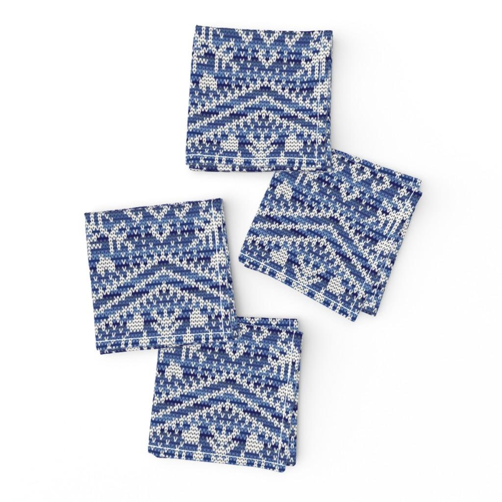 Frizzle Cocktail Napkins featuring Fair Isle Snowflakes by elizabeth_chia
