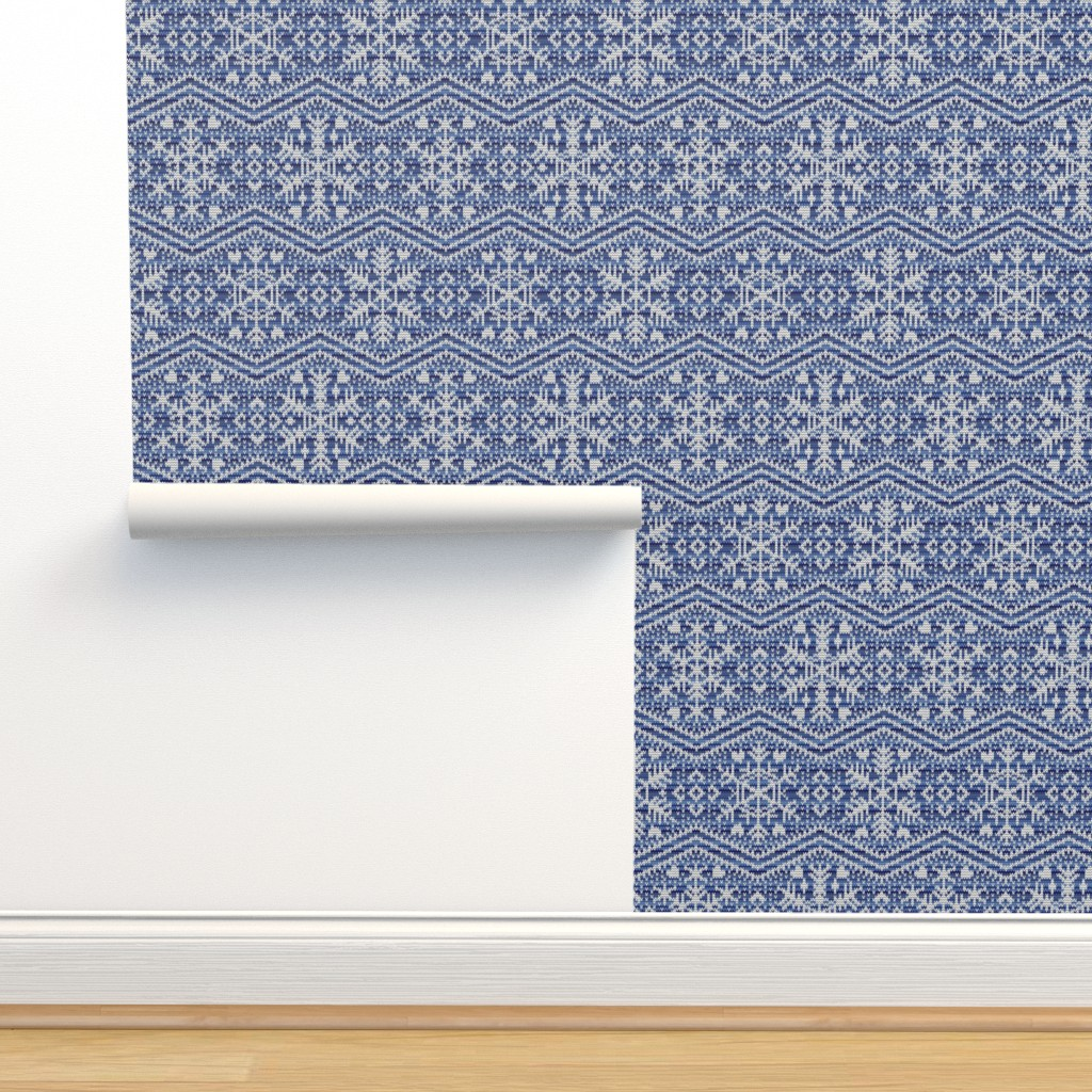 Isobar Durable Wallpaper featuring Fair Isle Snowflakes by elizabeth_chia