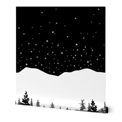 Starry Tree Line in Black and White