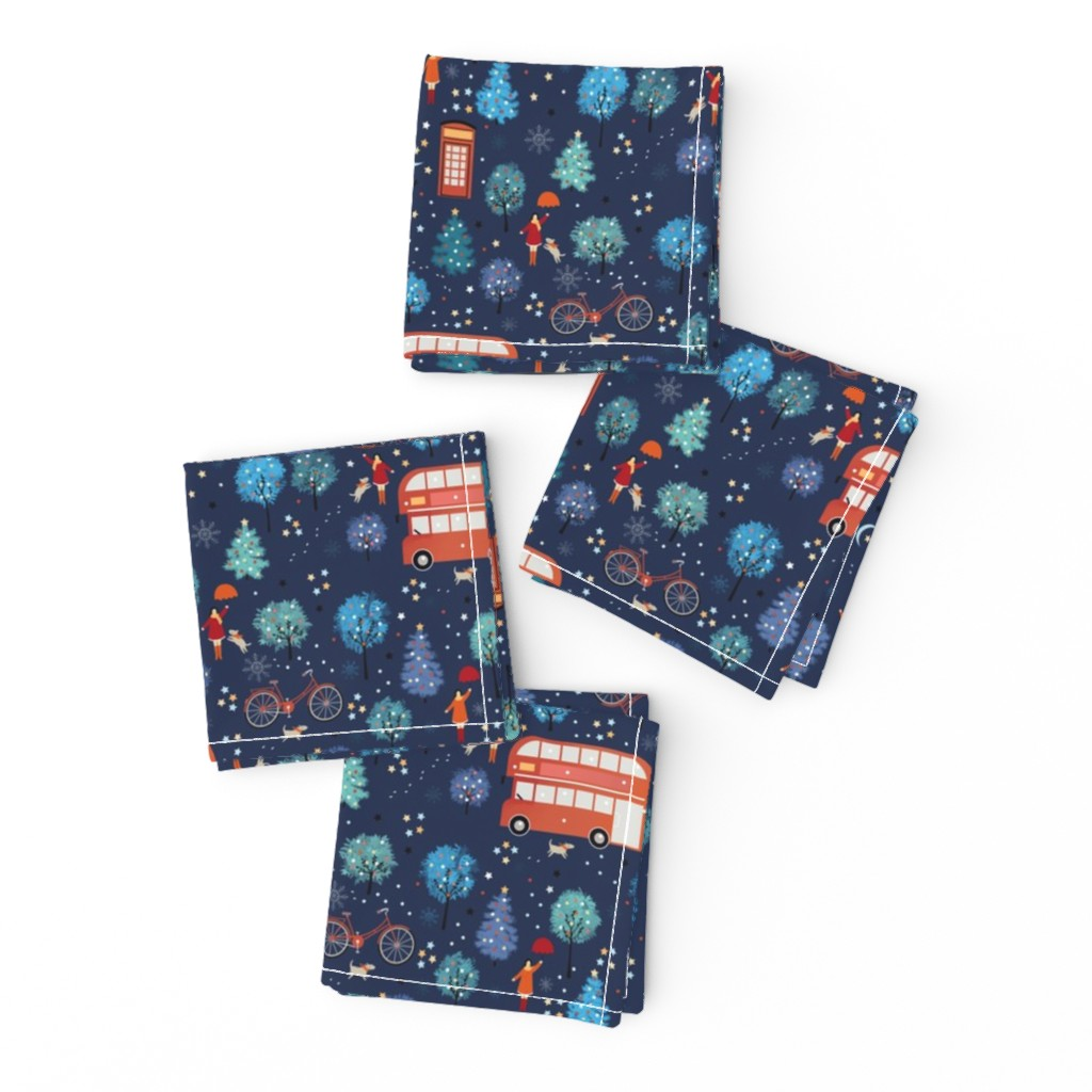 Frizzle Cocktail Napkins featuring London Christmas by elena_naylor