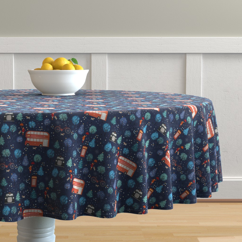 Malay Round Tablecloth featuring London Christmas by elena_naylor