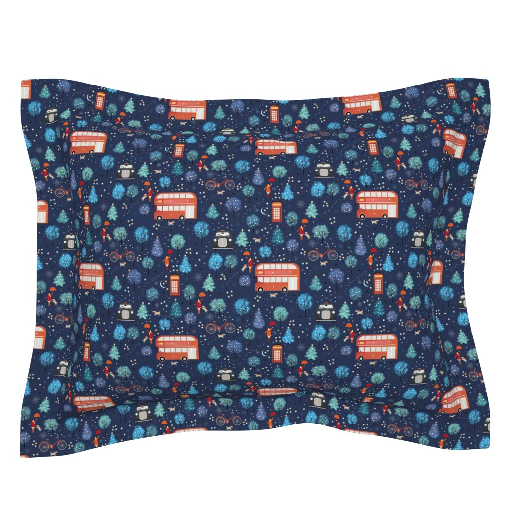 Sebright Pillow Sham featuring London Christmas by elena_naylor