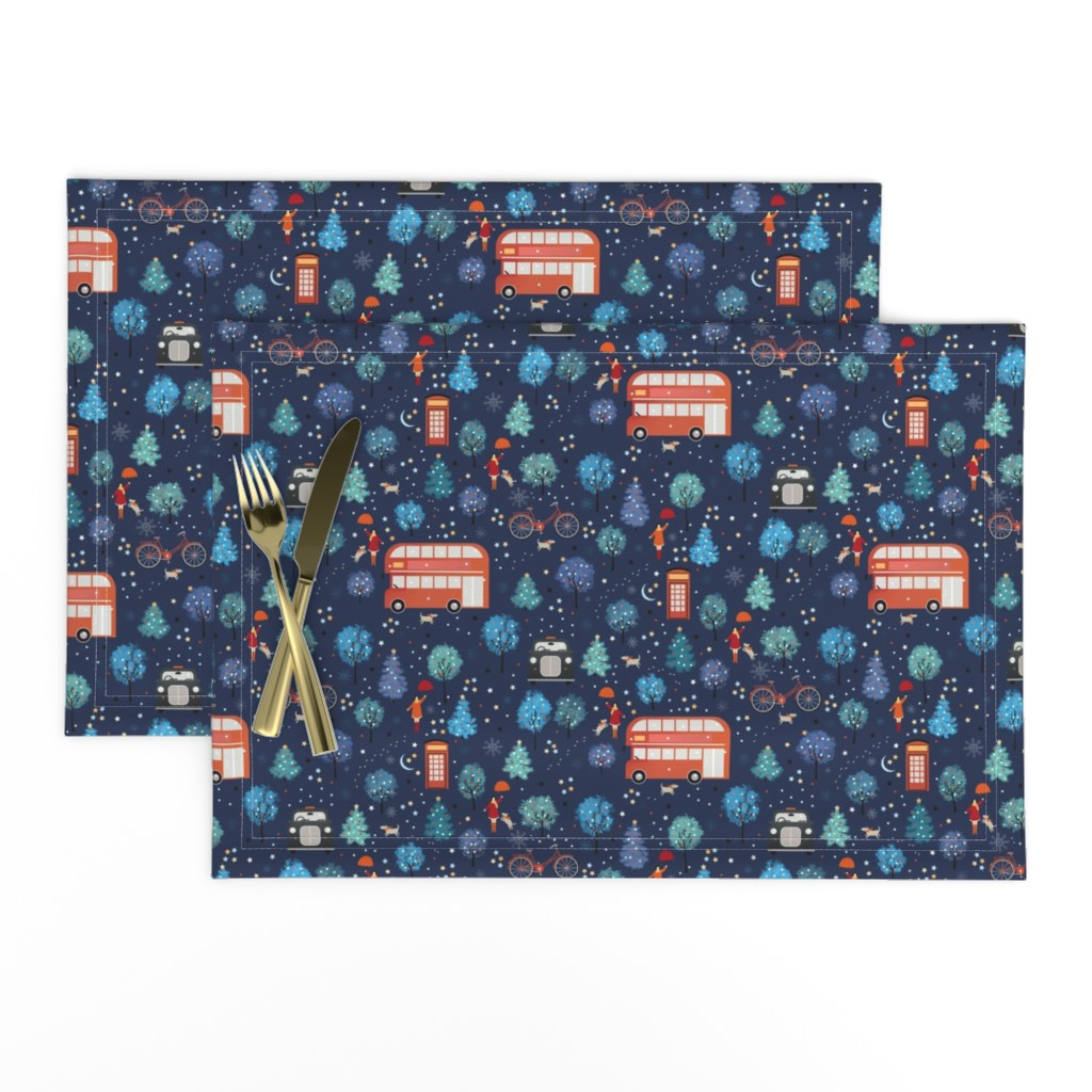Lamona Cloth Placemats featuring London Christmas by elena_naylor