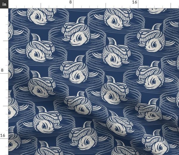 Fabric By The Yard Koi Fish Invasion Navy Blue White Large Scale Collection Anese Block Print