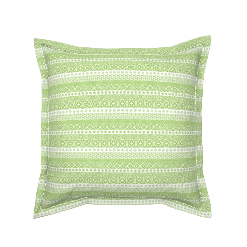 Serama Throw Pillow featuring Fair Isle-Light Green by jancook