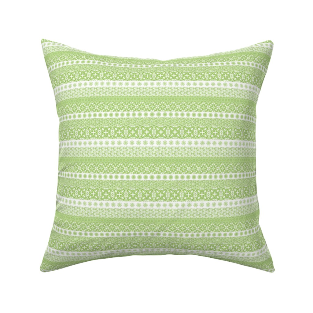 Catalan Throw Pillow featuring Fair Isle-Light Green by jancook