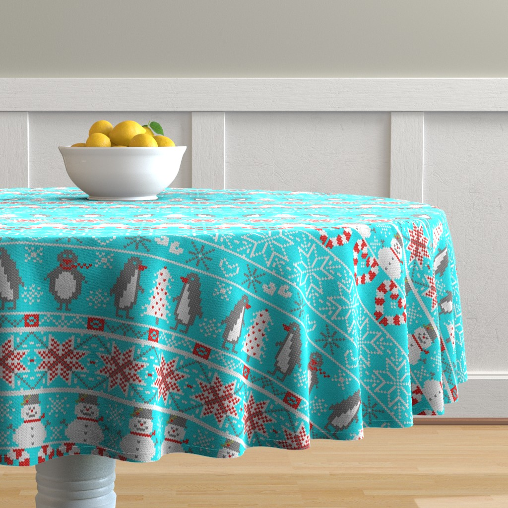 Malay Round Tablecloth featuring Christmas Friends in Fair Isle by stasiajahadi