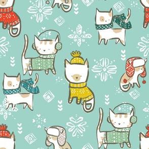 Festive Winter Cats - © Lucinda Wei