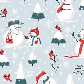 Christmas Snowmen and Cardinals