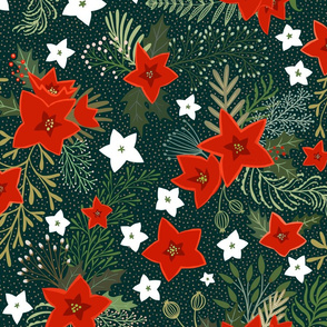 Poinsettia and holly leaves with red berries on dark green