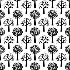 Tree Seasons - Large Scale B & W