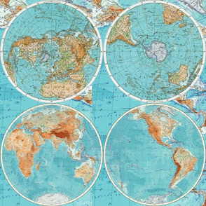 Map Wraps™ Mother Earth Cotton Sateen Fat Quarter (Sky Blue)