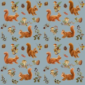 Red Squirrels on Storm Grey