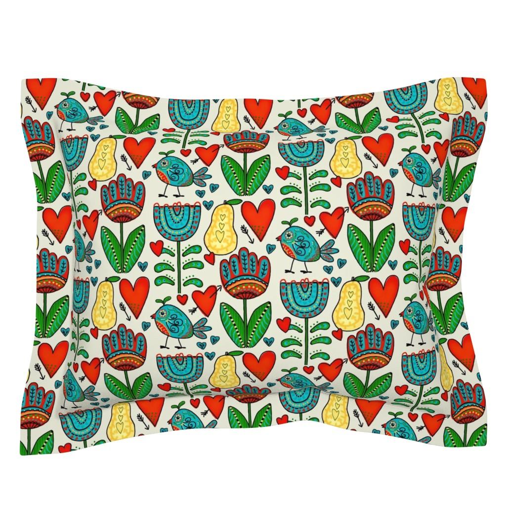 Sebright Pillow Sham featuring Hopes Garden / Folk Art  by franbail