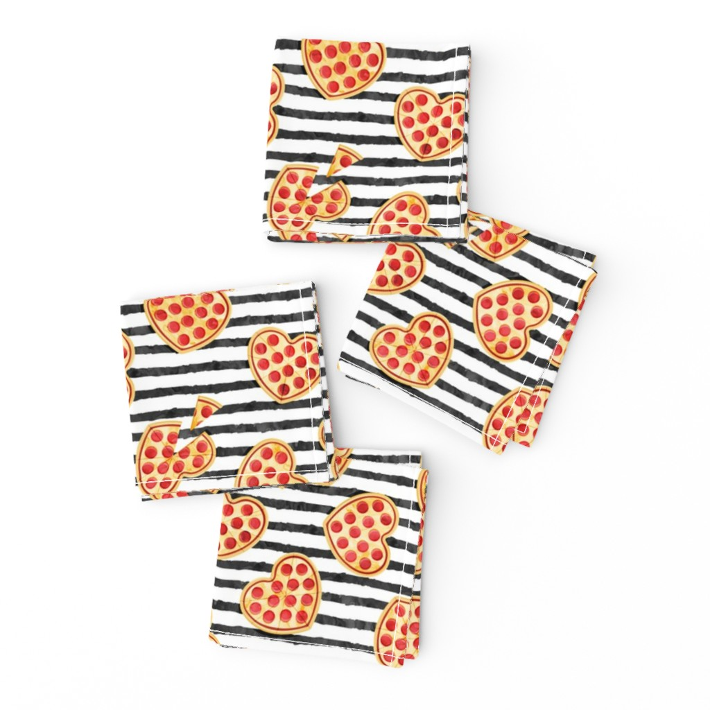 Frizzle Cocktail Napkins featuring heart shaped pizza - valentines day - black stripes by littlearrowdesign