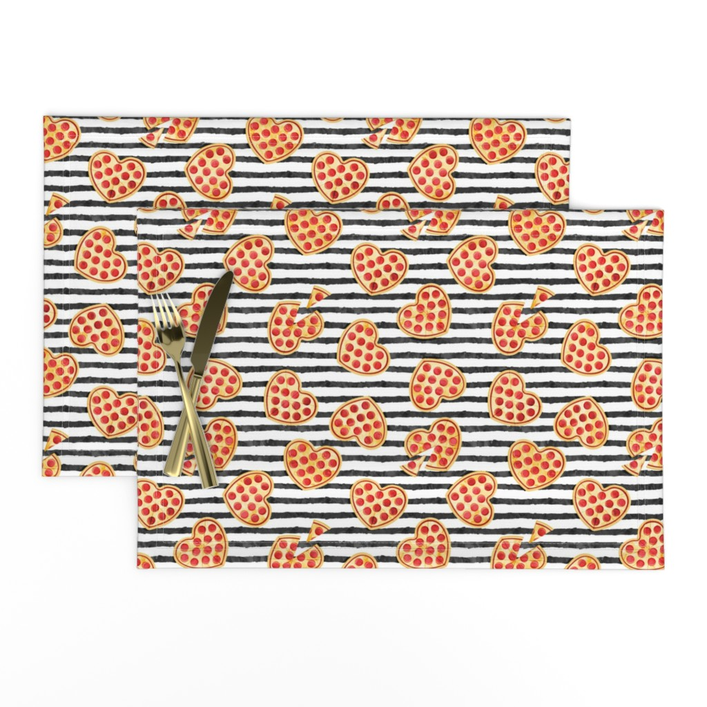 Lamona Cloth Placemats featuring heart shaped pizza - valentines day - black stripes by littlearrowdesign